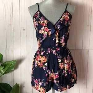 Band Of Gypsies Floral Ruffled Romper